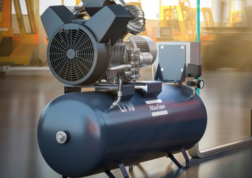 Atlas Copco LE/LT oil-lubricated aluminum piston compressors Oil-free air blowers